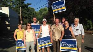Volunteers from the 36th helped the Isenhower campaign beat their doorbelling goals before the Primary.